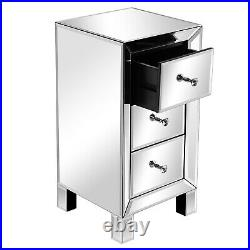 Mirrored Bedside Table Glass Cabinet Chest Of 3-Drawers Nightstand Storage UK