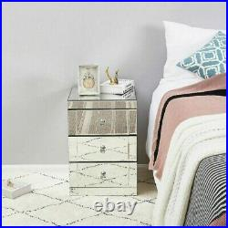 Mirrored Bedside Tables Cabinet 3 Drawers Nightstand Side Storage Bedroom Table