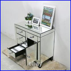 Mirrored Chests of Drawers Silver Cabinet 5 Drawers 1 Cupboard Console Table