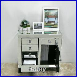 Mirrored Furniture Storage Cabinets Drawers Doors Mirror Units Bedside Table