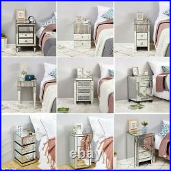 Mirrored Glass Bedside Table Nightstand Storage Cabinet Chest of 2/3 Drawers