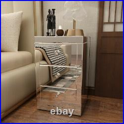 Mirrored Glass Bedside Table Nightstand Storage Cabinet Chest of 3 Drawers