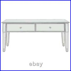 Mirrored Glass Coffee Table Side Cabinet with Storage Drawers Venetian Style