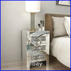 Mirrored Glass Storage 3 Drawers Bedside Cabinet Table Unit For Bedroom Home