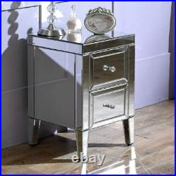 Mirrored Table Cabinet, Valencia Silver 2 Drawer Storage 40cm x 40cm x 60cm