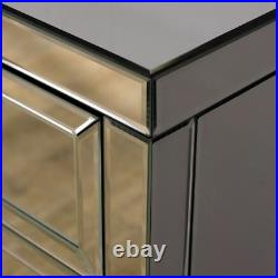 Mirrored Table Cabinet, Valencia Silver 3 Drawer Storage 40cm x 64cm x 40cm
