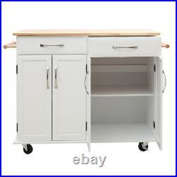 Mobile Kitchen Storage Trolley Cart Island Shelf Cupboard Door Bar Table Cabinet