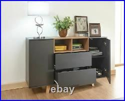 Modena Range Sideboard Console Table Cabinet Storage Unit Cupboards Grey & Oak