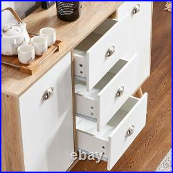 Modern 2 Door 3 Drawers Cupboard Storage Cabinet Unit Sideboard Table Kitchen BN
