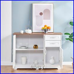 Modern 3 Door 2 Drawers Storage Cabinet Sideboard Cupboard Table Kitchen White