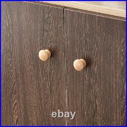 Modern 4 Door 3 Shelf Storage Cupboard Cabinet Sideboard Table Hallway Kitchen