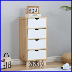 Modern 4 Drawers Bedside Table Cabinet Bedroom Furniture Storage Nightstand Unit