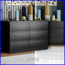 Modern 6 Drawer Chest of Drawers Cabinet Bedroom Furniture Storage Table Black