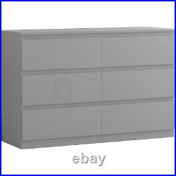 Modern 6 Drawer Chest of Drawers Cabinet Bedroom Furniture Storage Table Grey