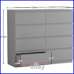 Modern 8 Drawer Chest of Drawers Cabinet Bedroom Furniture Storage Table Grey