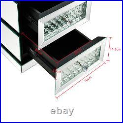 Modern Mirror Crystal Bedside Table 3 Drawers Storage Cabinet Bedroom Nightstand