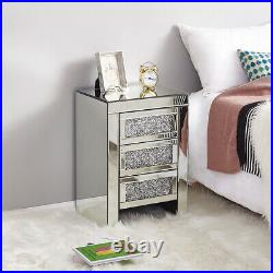 Modern Mirrored Glass Bedside Table Storage Cabinet Bedroom Nightstand With Drawer