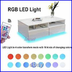 Modern RGB LED Light Rectangle Coffee Tea Table High Gloss with 4 Storage Drawer