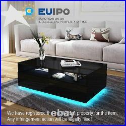 Modern RGB LED Rectangle Coffee Tea Table ALL High Gloss with 4 Storage Drawers