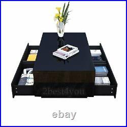 Modern Rectangle Coffee Tea Table High Gloss 4 Storage Drawers optional RGB LED