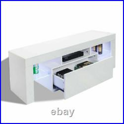 Modern TV Stand Cabinet with LED Light Media Storage Console Table Cupboard White