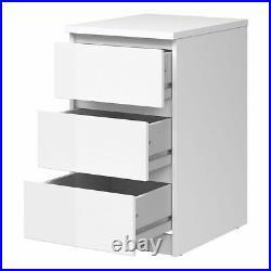 Modern White High Gloss Bedside Cabinet 3 Storage Drawer Bedroom Furniture Chest