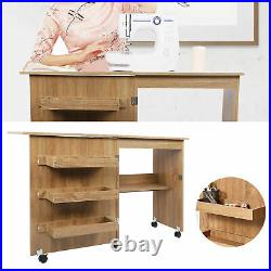 Multifunctional Foldable Sewing Table with Storage Cabinet And Lockable Casters