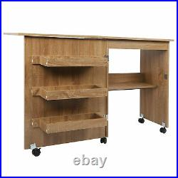 Multifunctional Wooden Sewing Table Desk with Storage Cabinet + Lockable Casters
