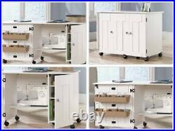 NEW Sauder Sewing Craft Table Drop Leaf Shelves Storage Bins Cabinets WHITE