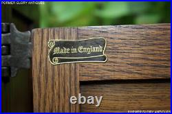 Old Charm Carved Light Oak CD Storage Cabinet Stand Lamp Phone Table Sideboard