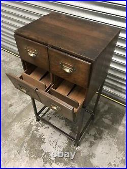 Original Vintage Wooden Index Drawers/industrial/furniture/home/storage/table