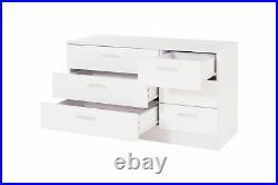 Ottawa Range 3+3 6 Drawers White Gloss Chest Of Table Cabinet Storage