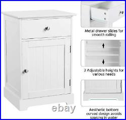 Pair Bedside Tables Tall White Cabinets Storage Drawer Cupboard Door Set Of 2