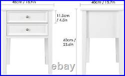Pair Bedside Tables Tall White Wooden Cabinets Storage Drawers Set Of 2 Units