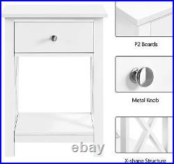Pair Bedside Tables White Storage Drawer Open Shelf X Shape Set Of 2 Cabinets