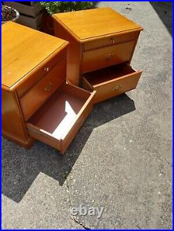 Pair Of Vintage Stag Bedside Cabinets Tables Cupboards Storage Units