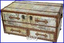 Retro Drinks Cabinet Coffee Table Antique Map Design Wine Storage Home Bar