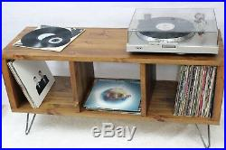 Retro Industrial Wooden Vinyl Storage Record Player Cabinet Stand TV Unit