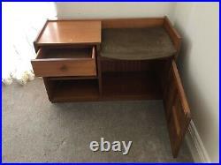 Retro Mid-Century NATHAN Teak Telephone Hall Table Cupboard Storage Danish Style
