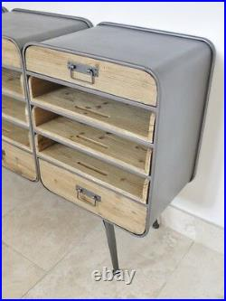Retro Urban Vintage rustic Industrial console table 12 Draw store unit (3964)