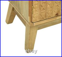 Rustic Bedside Cabinet 2 Drawer 1 Cupboard Storage Unit Phone Plant Stand Retro
