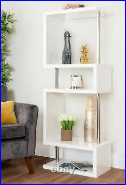 SIENA White High Gloss 4 Tier Table Book Shelf Stand Storage Unit Living Room