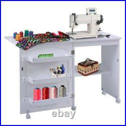 Sewing Table White Craft Folding Shelves Cabinet Organizer Rolling Storage Bins