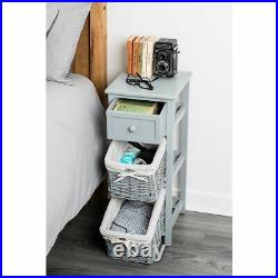 Shabby Chic Bedside Unit Tables Drawers Cabinet + Wicker Storage Wooden Bedroom