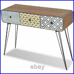 Side Cabinet Console Table with 3 Drawers Grey Brown Storage Cabinet Chest Retro