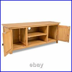 Solid Oak Wood TV Cabinet Unit Stand Entertainment Table Sideboard Shelf Storag