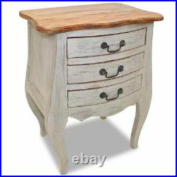 Solid Wood Rustic Bedside Cabinet Nightstand Chest of Drawer Storage Table