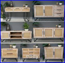 Storage Cabinet Console Table Sideboard Chest Of Drawers Fir Wood Rattan Wicker