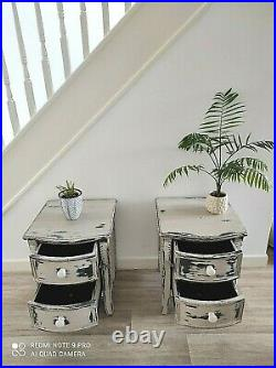 Superb Pair Of French Chateau'greige' Distressed Shabby Chic Bedside Cabinets