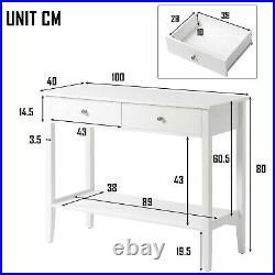 Table Bedside Cabinet Bedroom Storage Nightstand Console 2 Drawer Desk Wooden UK